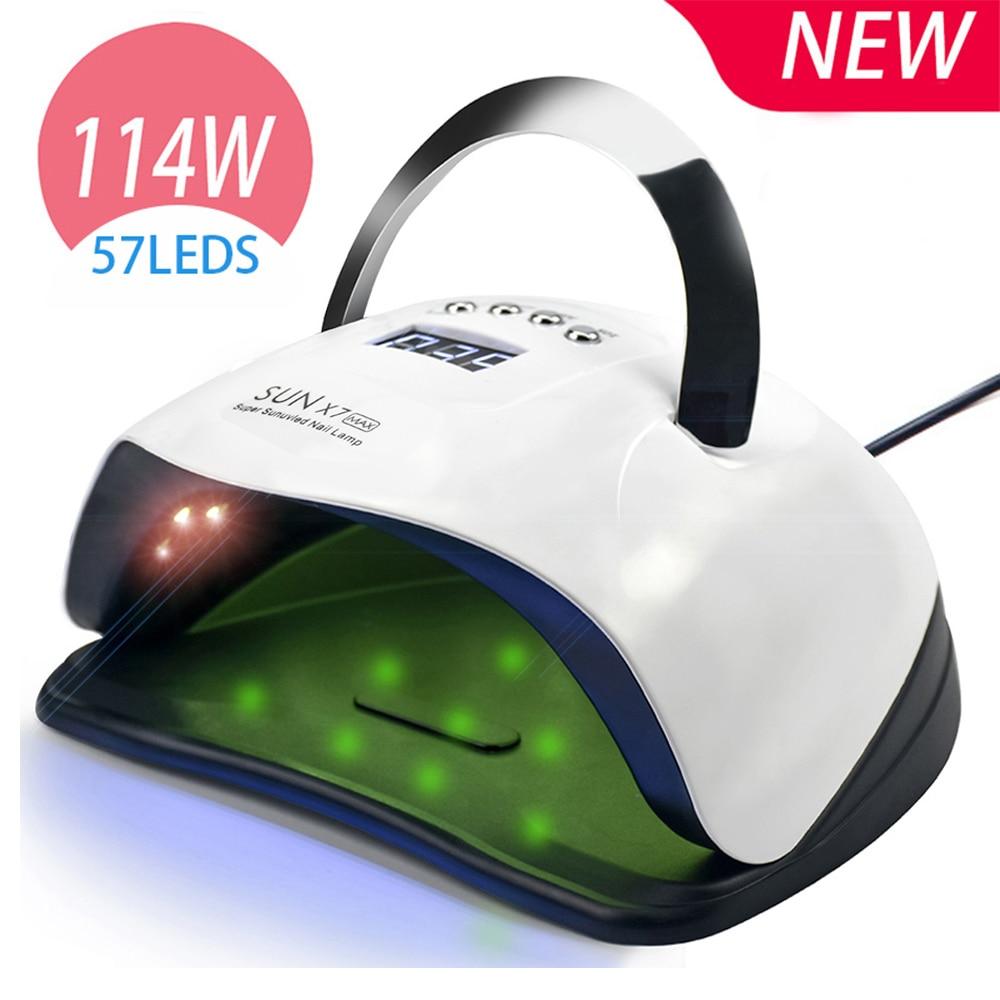 Nail Lamp UV LED Lamp Nail Dryer 114/80/72/54W with 57PCS Lamp Beads LCD Display and Smart Sensor for Curing All Gel Nail Tools