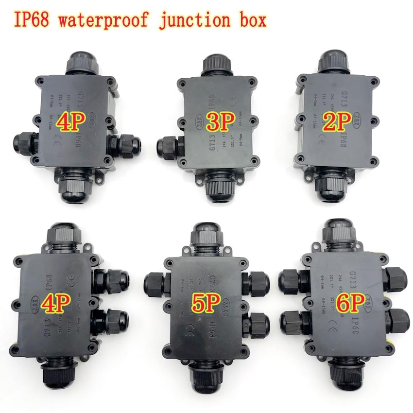 10 pieces a lot electrical plastic junction box waterproof electrical junction box 166 166 91 mm 6 5 6 5 3 6 inch 2/3/4/5/6 Way Electrical Junction Box Plastic Waterproof Electrical Junction Box Cable Wire Connector IP68 For External Wiring