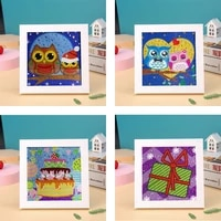 diy children diamond painting special shaped round crystal diamond embroidery kits with frame rhinestones for kids gift