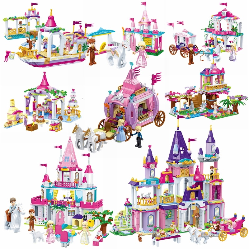 Casa de amigos con bloqueo, Castillo de princesa de Fgiures para niñas, barco de Hotel, animales, caballo, Princesa, Cenicienta, castillo, bloques de construcción