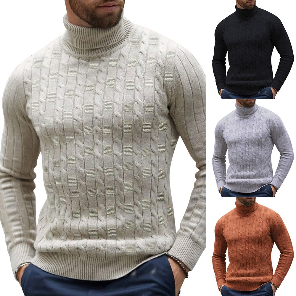 Otoño Invierno jerseys Pollover para hombres cuello alto liso Silm Knitted para hombre tapas suéter camisa blusa informal para hombres Jersey de punto