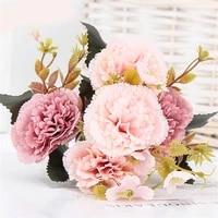 10 heads pink carnation bouquet silk artificial flowers bouquet home decor artificial plant fake flower wedding party decoration