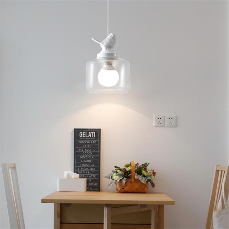 Lámpara de araña de pájaro LED de un solo cabezal, lámpara de cristal, decoración del hogar, iluminación Pastoral, restaurante, habitación creativa para niños, lámparas de balcón