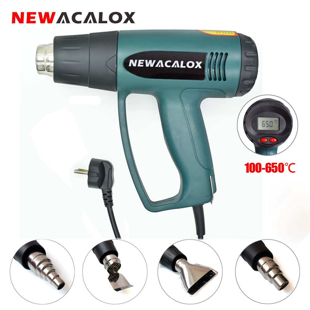 220v 2000w hot air gun powerful mini hand tools lcd temp adjustable heat gun 2 nozzles for soldering and welding tgk 8920e NEWACALOX EU 220V 2000W LCD Display Hot Air Gun Temperature Adjustable Heat Gun 4PC Nozzles for Heat Shrink/Home DIY Embossing