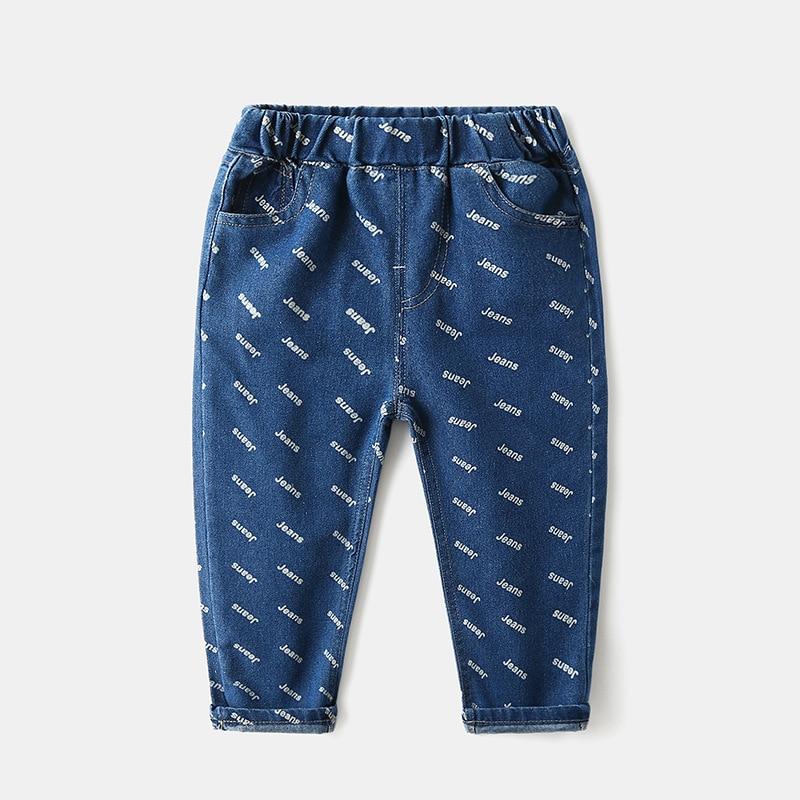 Letters Boys Girls Denim Pants Cotton Elastic Waist Kids Jeans Trousers Children's Clothes