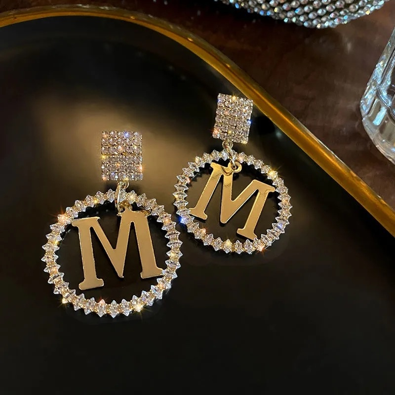 Korea 2021 New Luxury The Letter M Crystal Pendant Earrings for Women Fashion Exquisite Flower Party Jewelry Gifts