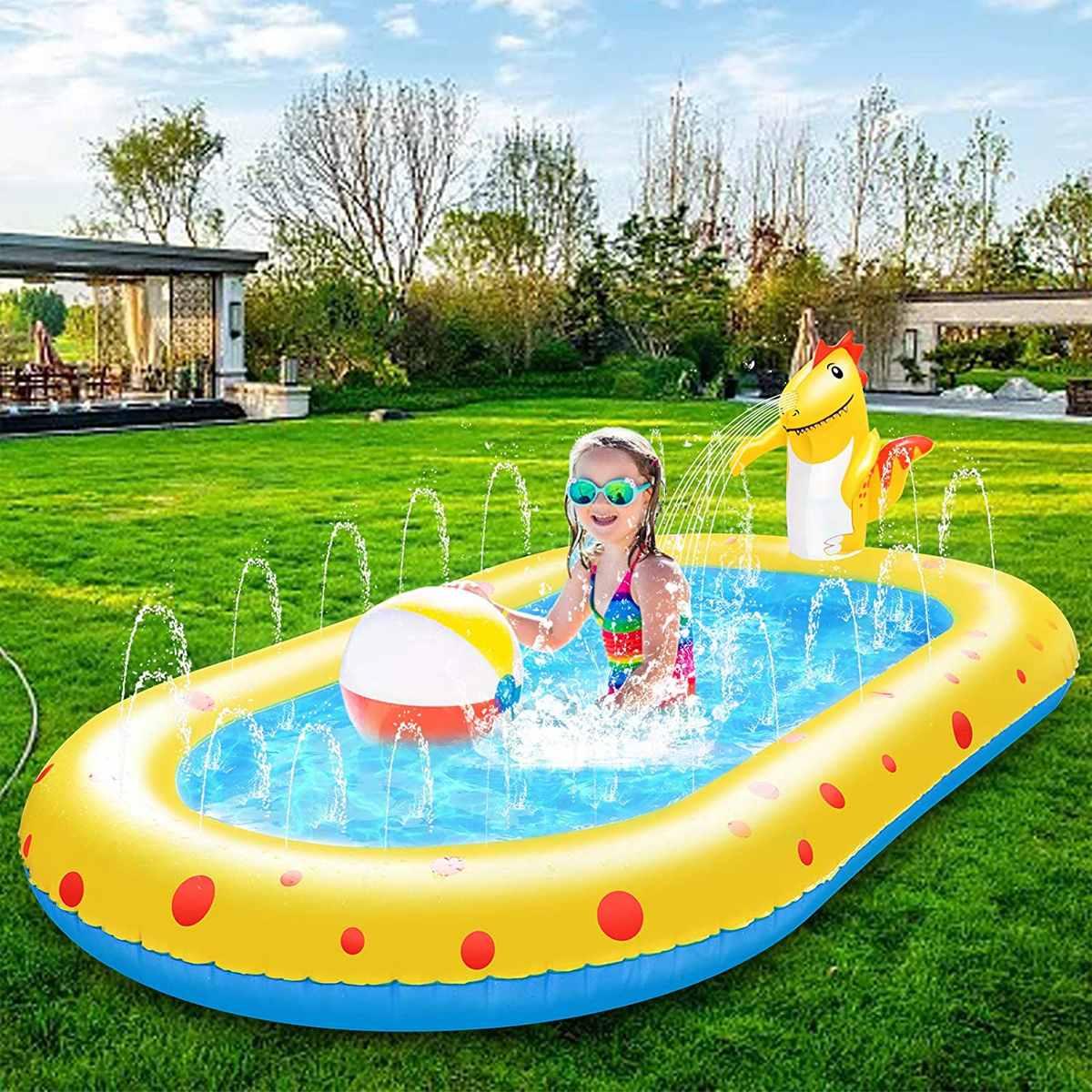 حمام سباحة دفقة قابل للنفخ من مادة البولي فينيل كلوريد للأطفال لعبة صيفية لحفلة السباحة في الهواء الطلق في الحديقة الشاطئية 170X110CM