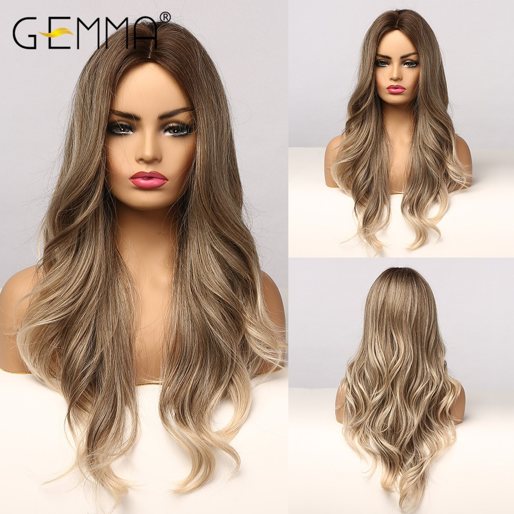 GEMMA Cosplay Synthetic Wig Middle Part Long Wavy Ombre Brown Ash Blonde Wigs for Black Women Afro  Daily High Tempeqrature Hair