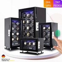 Fingerprint Unlock Automatic Watch Winder Quiet Smart Remote Control Touch Screen 2 3 4 6 8 12 Slots Watch Box