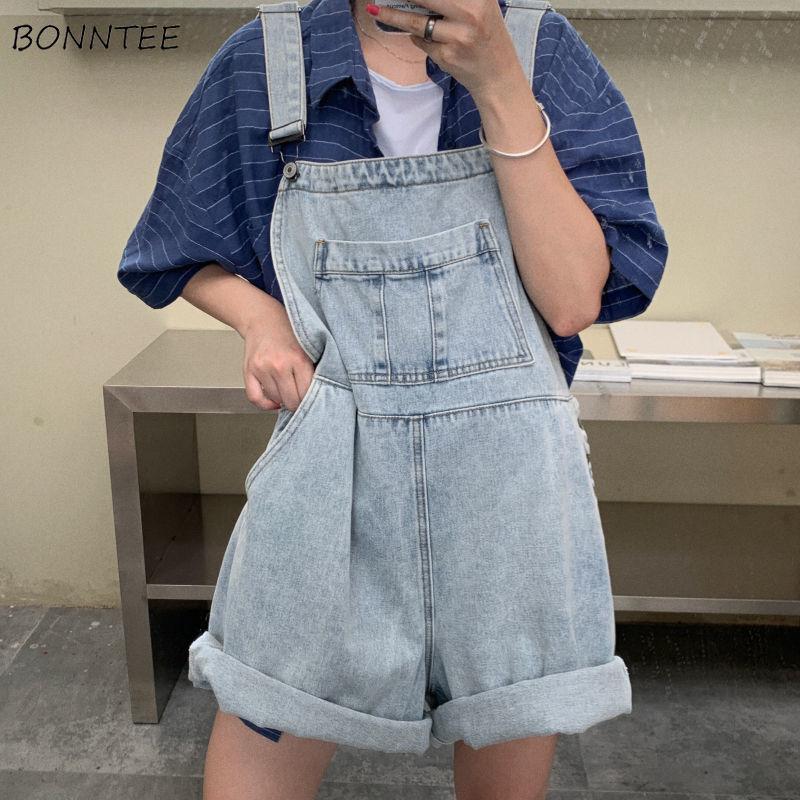 Mono vaquero de talla grande para mujer de talla grande para estudiantes de escuela estilo coreano Vintage holgado de moda de bolsillo diario ropa de calle para mujer