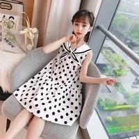 8 14 year old girls polka dot dress summer sleeveless navy neck bow dress children princess dress clothing direct sales clothes