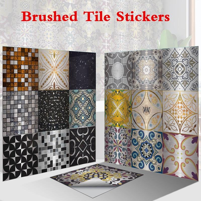 16 стилей матовая плитка наклейки на кухню металлическая текстура мозаичные обои для ванной винтажные водонепроницаемые наклейки для украшения дома