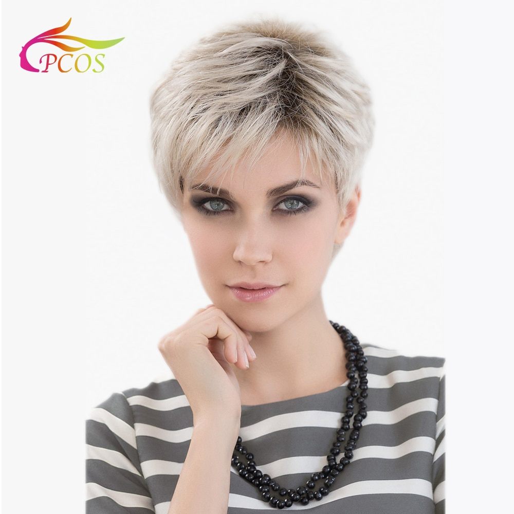 Short Blonde Synthetic Dark roots Wig for Black Women Daily Hair Natural Straight Wigs with Bangs