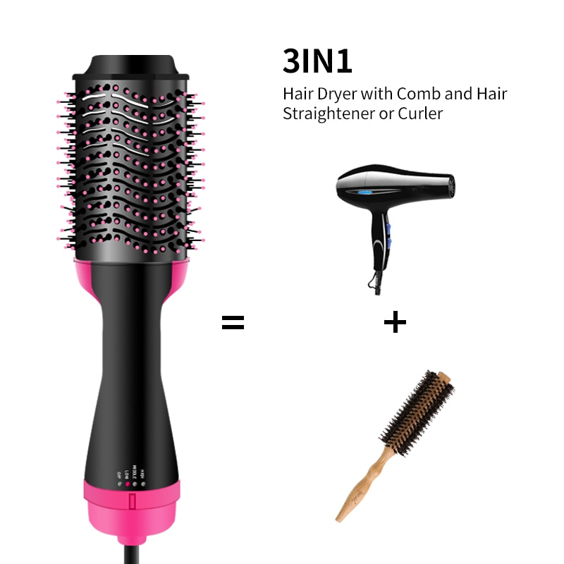 One Step Hair Dryer Electric Hot Air Brush Multifunctional Negative Dryer brush Negative Ion Generator Hair Straightener Curler