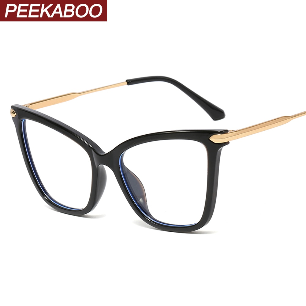 Peekaboo ojo de gato gafas de filtro azul prescripción femenina tr90 juego de gafas de ordenador gafas de protección de ojo grande de las mujeres señoras