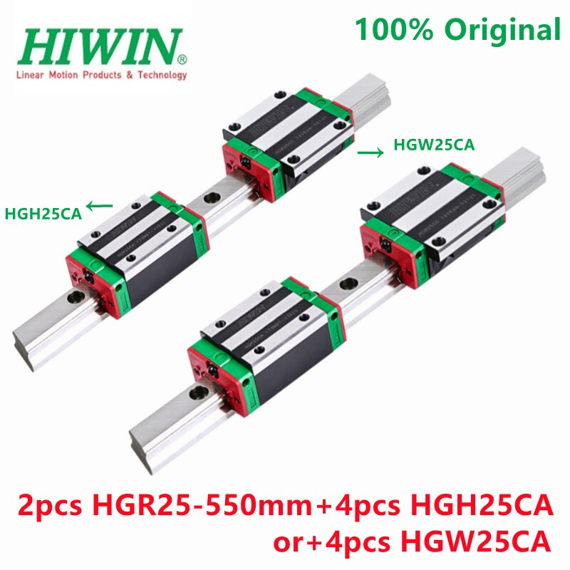 100% الأصلي HIWIN 2 قطعة الخطي دليل السكك الحديدية HGR25 -550 مللي متر + 4 قطعة HIWIN HGH25CA أو + 4 قطعة HGW25CA الخطي كتل HGH25 HGW25