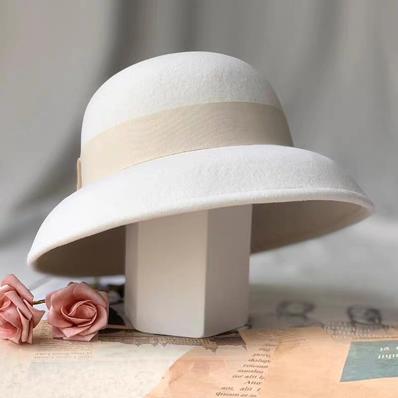 2021 New Formal Hats Winter Pure 100% Wool Felt Bowknow Fedora Hat White Cap Wool Mother Gift Lady T