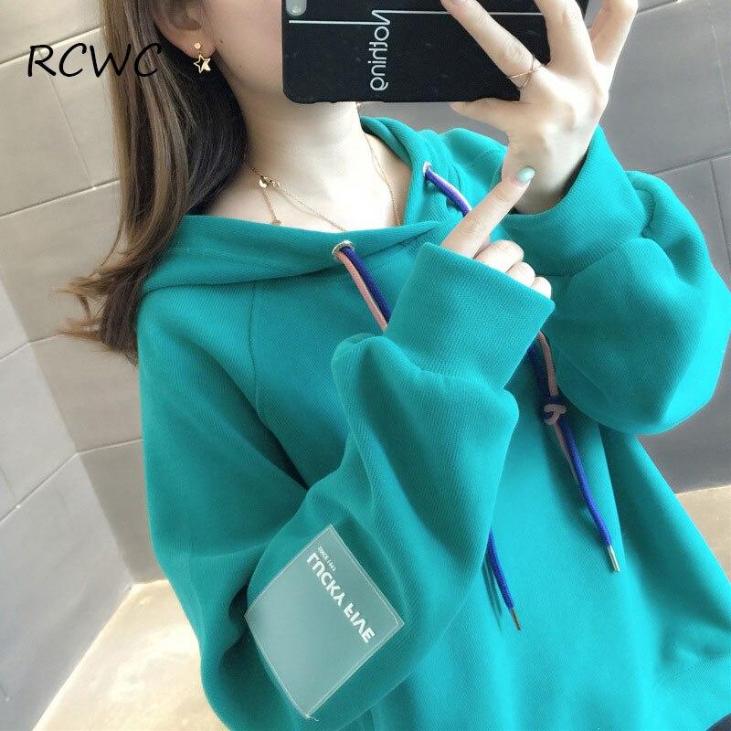 RCWC Sweatshirt Women Season Hot Sale Plus Velvet Thick Candy Color Fashion Korean Student Ins Trendy Wild