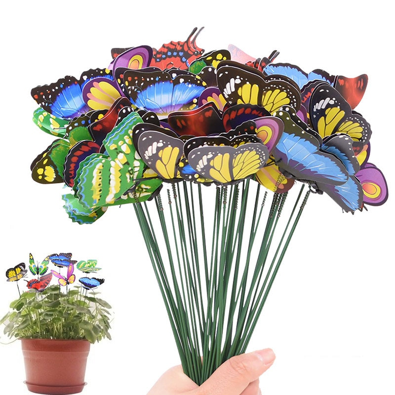 10pcs/lot 25cm Butterflies Garden Yard Planter Colorful Whimsical Butterfly Stakes Outdoor Decor Flower Pots Decoration