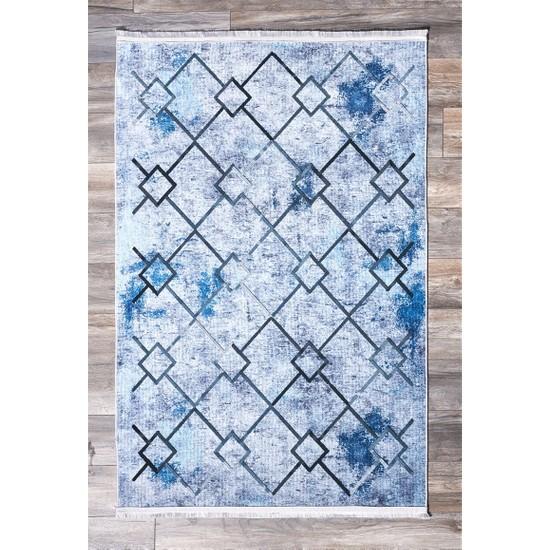 سجادة زرقاء 80x150 سم ، بولي بروبيلين ، مستطيلة ، منسوجة ، منسوجات منزلية حديثة ، تركيا ، النسيج ، تقليدي