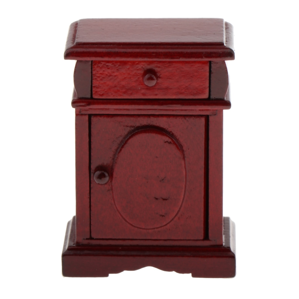 1/12 Dollhouse Mini Mahogany Nightstand Furniture Kids Child Ornaments Parts