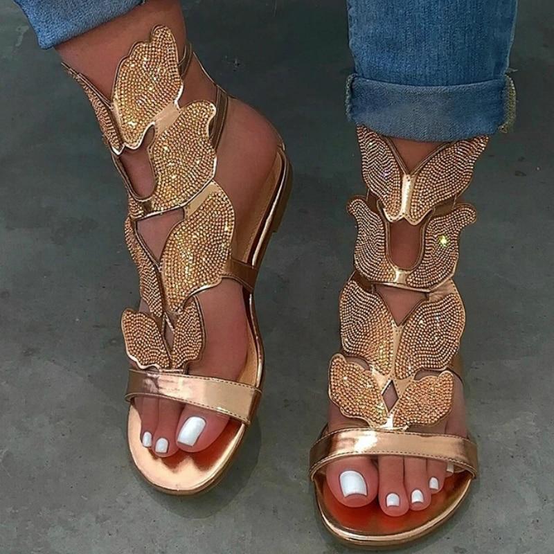 Frauen Gladiator Sandalen Sommer Luxus 2020 Strass Schmetterling Flügel Mode Shiny Sexy Party Damen Schuhe Zapatos De Mujer