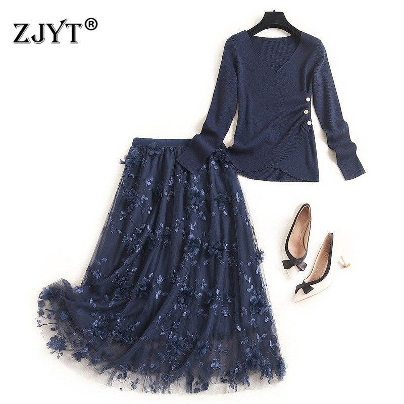 2020 الأزياء جديد الخريف النساء طويلة الأكمام السترة محبوك أعلى و تنورة 2 قطعة مطابقة مجموعة الزي