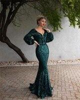 green mermaid shiny sequined evening dresses 2021 women formal party vestidos de gala elegant long robes de soir%c3%a9e prom gowns