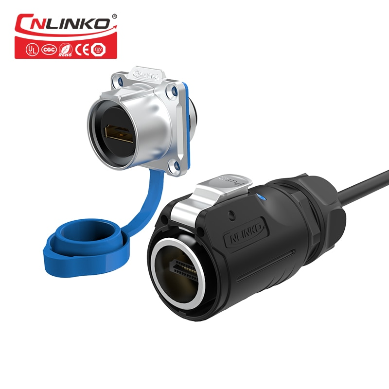 CNLINKO M24 datos enchufe macho hembra Panel conector Industrial HDMI 2,0 4k Cable de línea HD impermeable adaptador IP67 1M 2M Cable