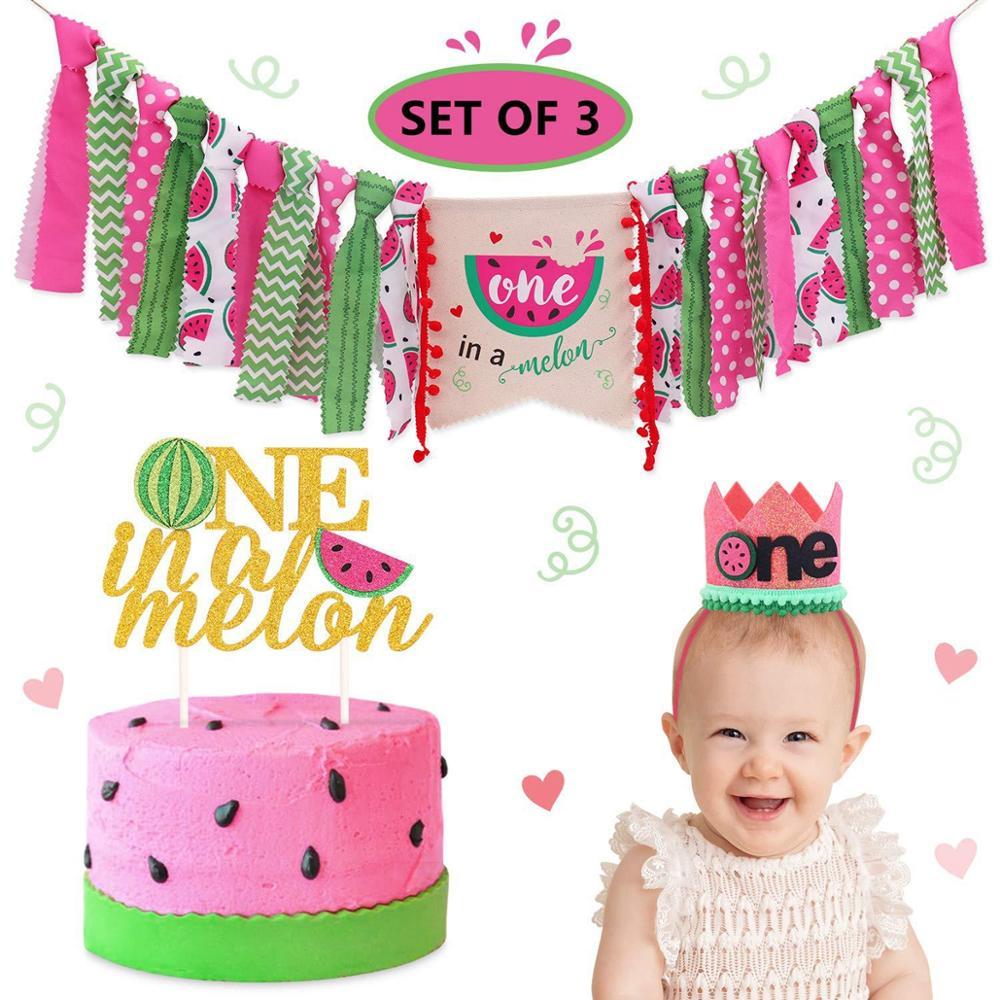 Watermelon One Year Birthday Gift Hat 1st Birthday Banner Kids Happy Birthday Banner 1 One Year First Birthday Boy Baby Shower