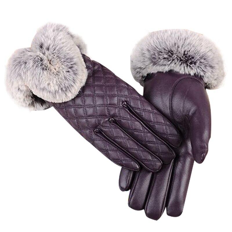 Guantes de piel de oveja auténtica de invierno para mujer, piel de conejo Rex auténtica, piel gruesa cálida de otoño, Piel púrpura para mujer