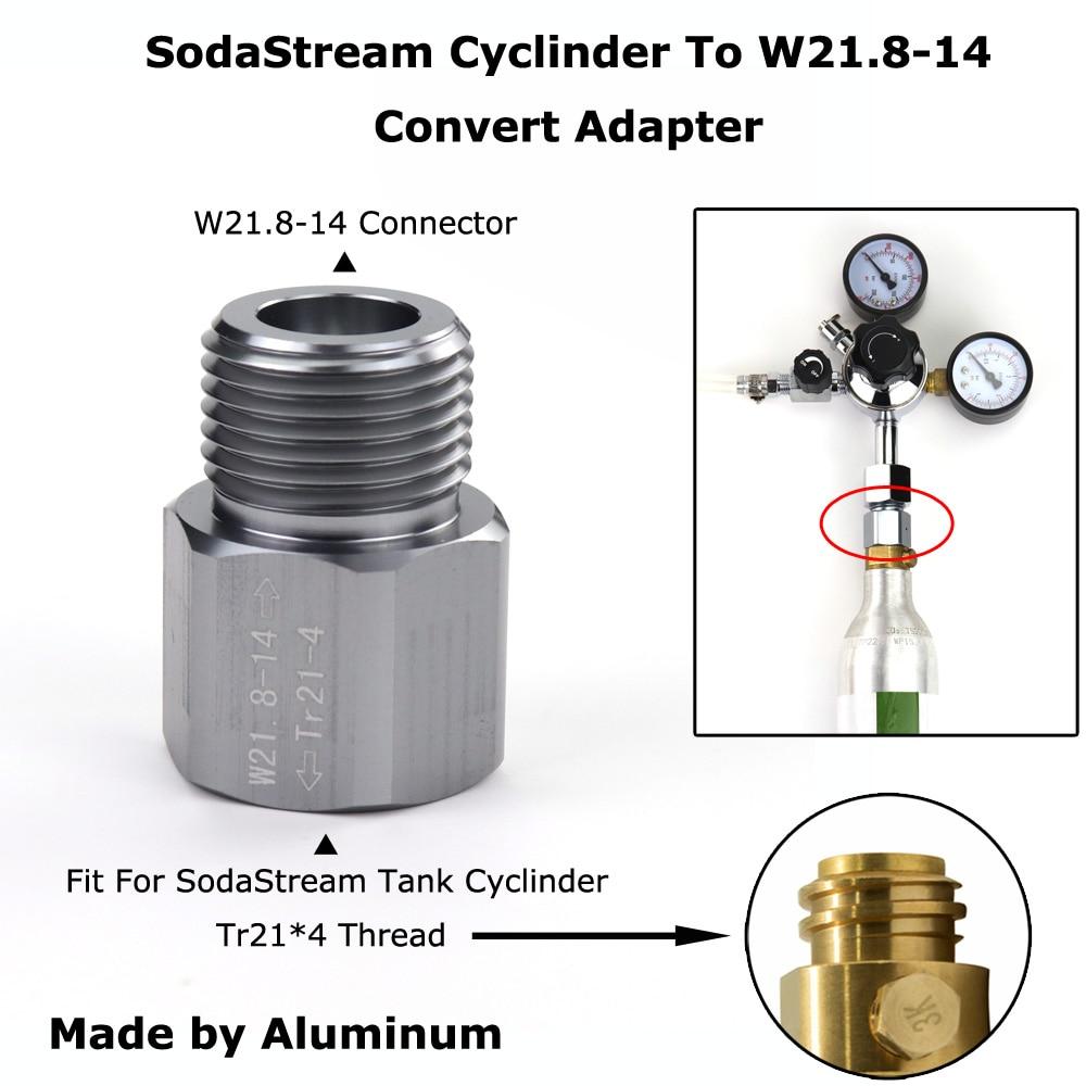 New SodaStream Cylinder To W21.8-14 Convert Adapter For Aquarists Aquarium Fish or Homebrew Beer Keg Co2 Tank Regulators