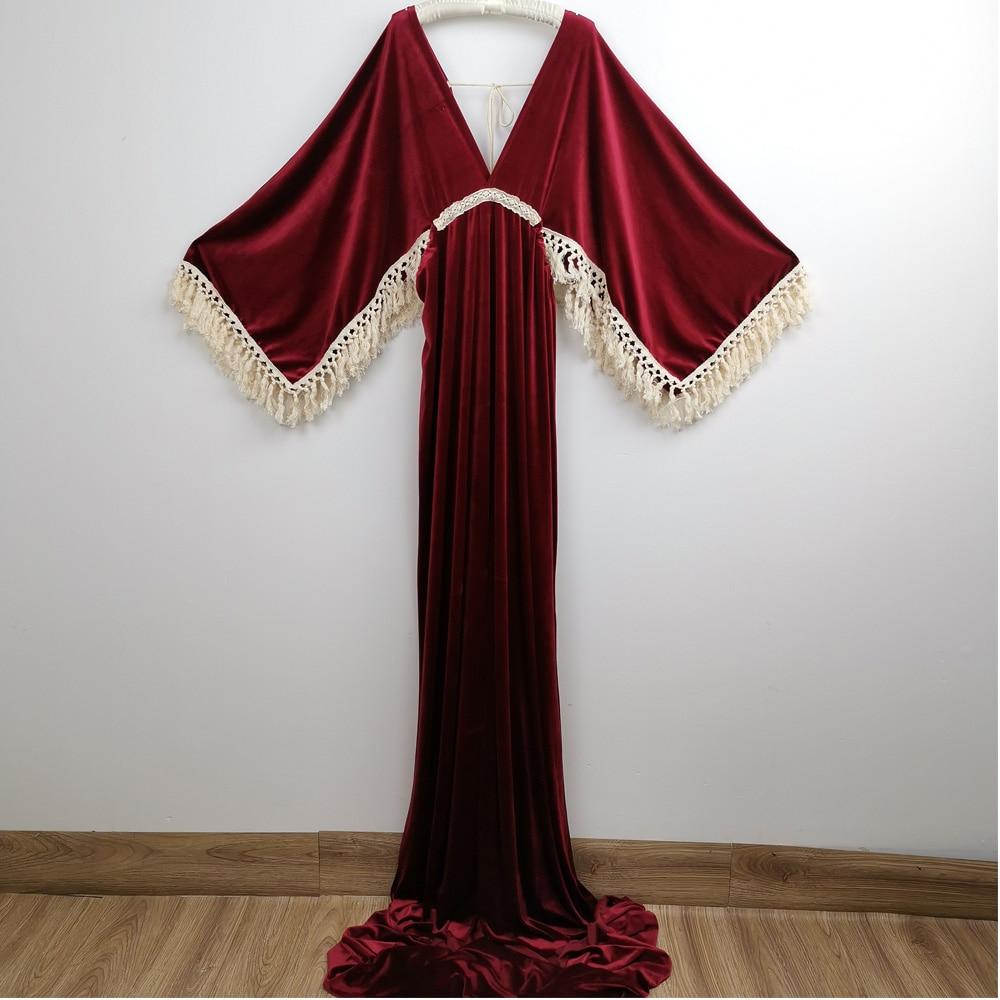Boho Soft Maxi Long Bell Sleeves White Edge Maternity Dress Pregnant Velvet Gown for Woman Photography Prop Baby Shower Gift enlarge