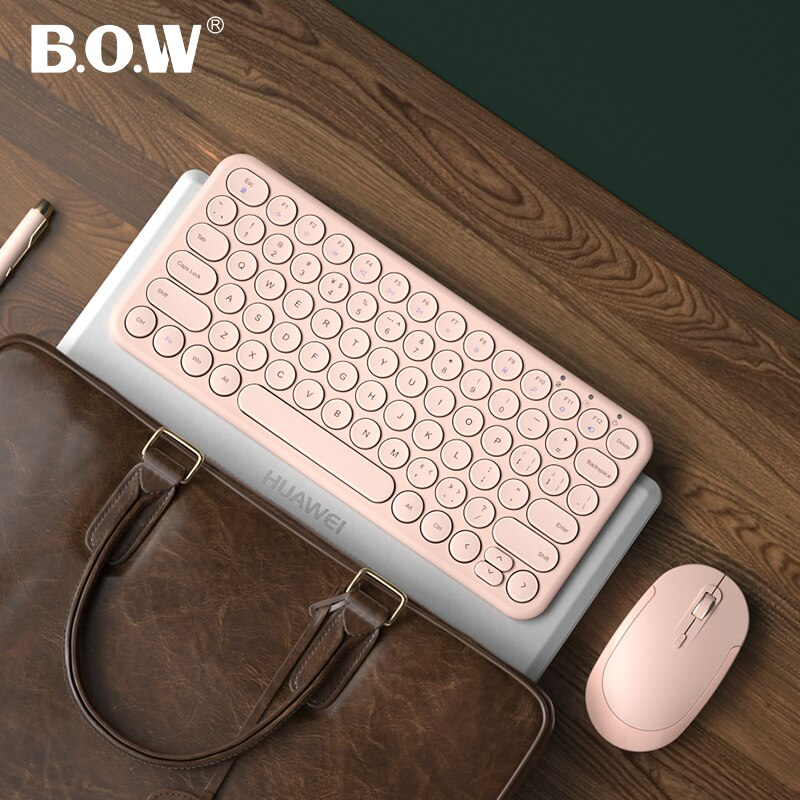 B.O.W ماوس لوحة مفاتيح صغير 2.4Ghz لاسلكي متصل ، التوصيل والتشغيل KB مع مفتاح دائري صامت انقر فوق للكمبيوتر/كمبيوتر محمول USB