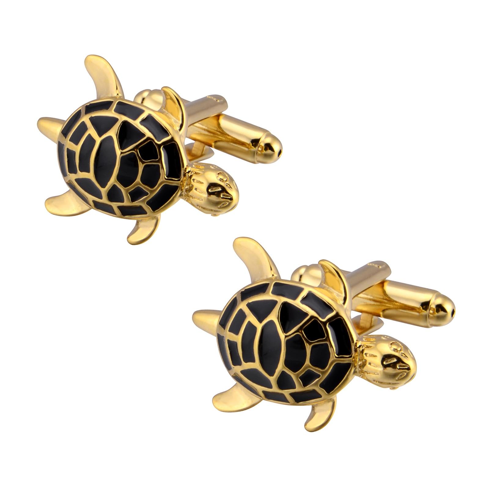 Gemelos tortuga negro oro francés novedad traje de banquete para hombres accesorios de la camisa regalos lindo Animal gemelos joyería