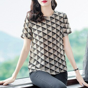 YG brand women's 2021 new silk printed T-shirt, short sleeve, round neck casual top