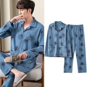 Men's Cotton Pajamas Set Casual Long Sleeve Plaid Pants Sleepwear Night Suit Homewear Plus Size 3XL