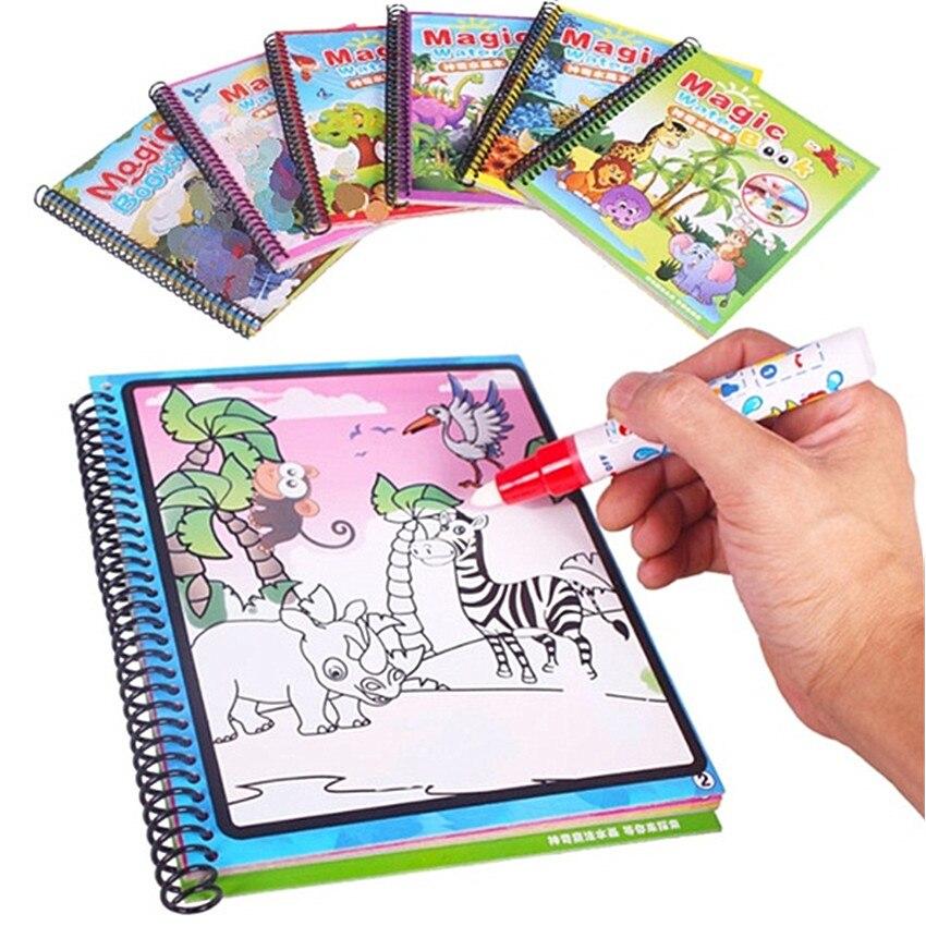 Montessori colorir livro doodle & caneta mágica pintura desenho placa para crianças brinquedos magia água desenho livro presente de aniversário