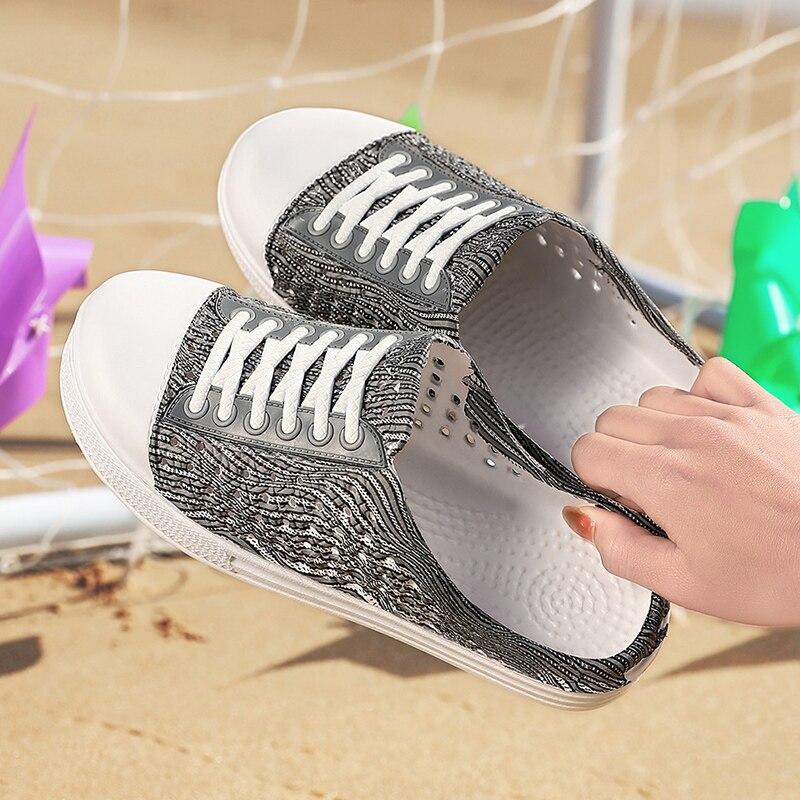 PULOMIES Summer Women Slippers Platform Clogs Outdoor Garden Shoes Female Pool Sandals Bathroom Flip Flops Mules Beach Slippers