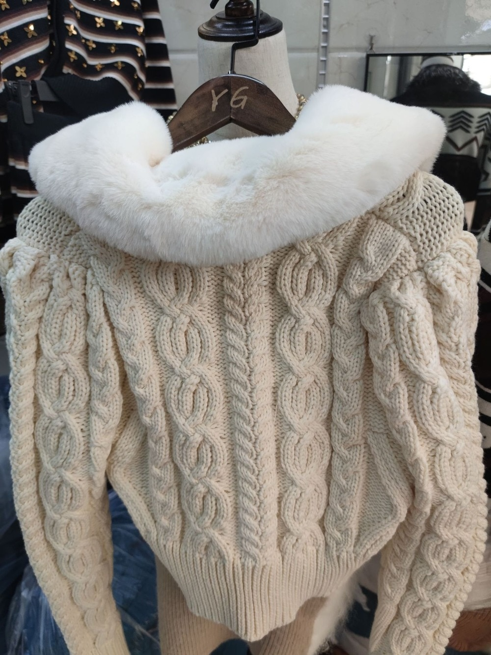 Cardigan sweater 2021 autumn and winter pure white with fur lapel women's loose knitted crochet coat top enlarge