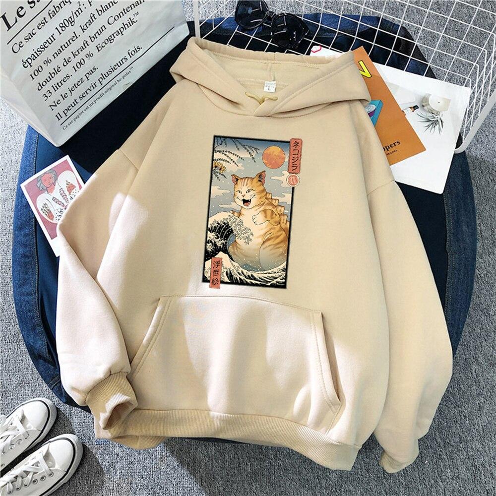 Толстовка мужская с принтом кошки, кофта с капюшоном в японском стиле, удобная винтажная кофта в стиле панк, пуловер