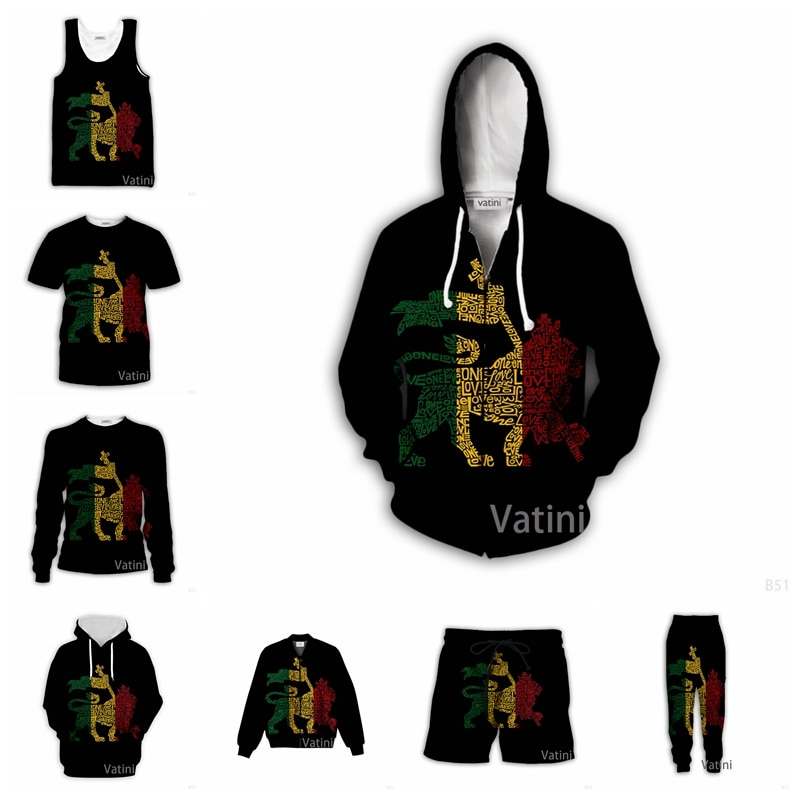 Толстовка унисекс на молнии, Модный повседневный спортивный костюм с 3D-принтом раста, Лев, одна любовь, пуловер в стиле Харадзюку