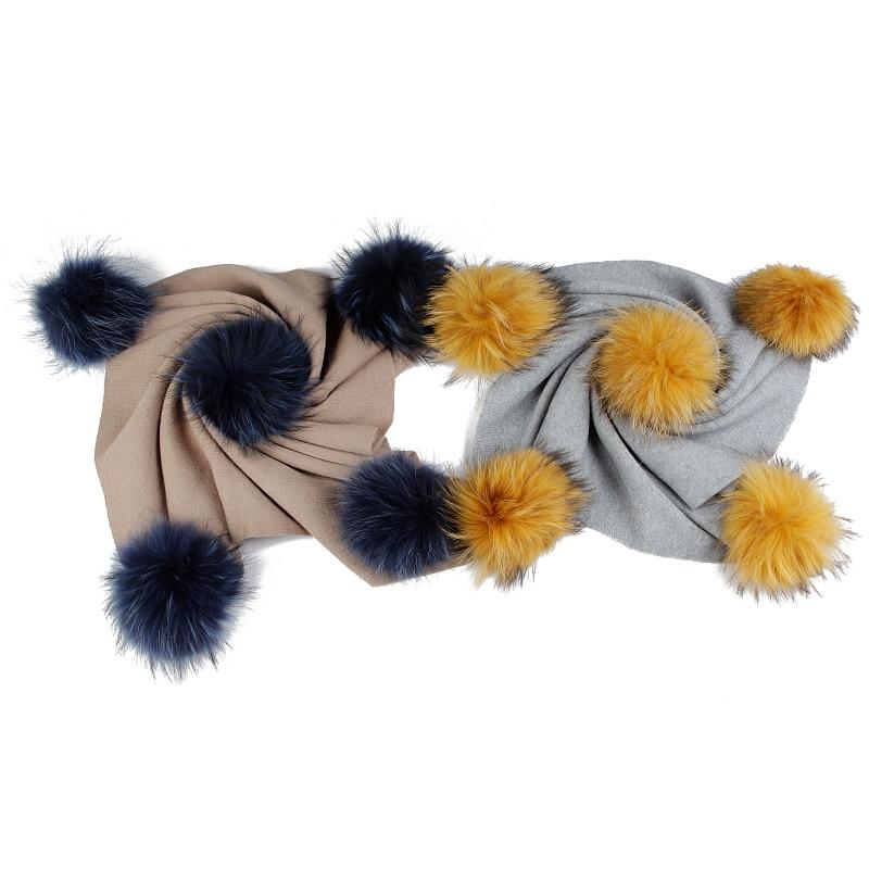 2019 Newborn Baby Kids Baby Warm Wool Swaddling Blanket Travel Sleeping Blanket With 15cm Real Fur Pompom Bedding Swaddles Wrap