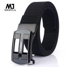 Medyla nouvelle ceinture pour hommes mode boucle automatique ceinture en nylon haute qualité jean sans dents jeunesse ceinture décontractée en toile livraison directe
