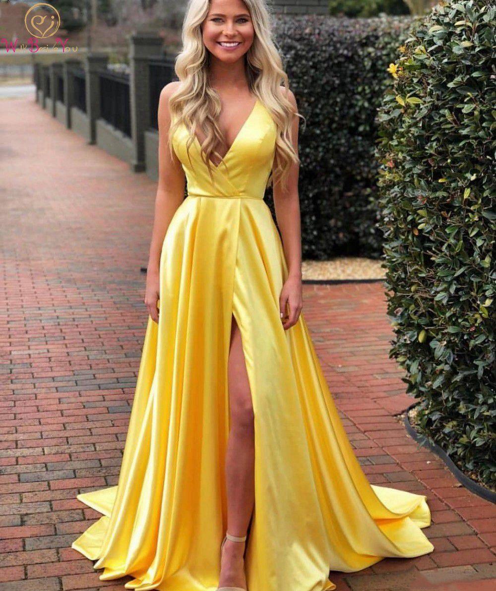 Amarillo dividir fiesta Formal largo vestidos de fiesta para mujeres 2020 Spaghetti correas de cuello en V de las señoras túnica vestidos de noche vestido de fiesta