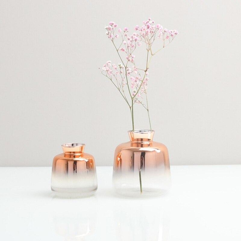Jarrón de vidrio degradado de estilo nórdico para decoración de escritorio del hogar, florero Simple de plantas, contenedor de oro rosa, florero de decoración para casa