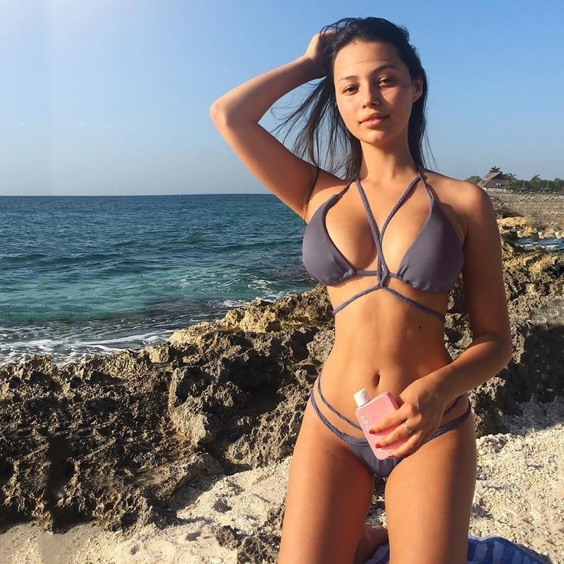2020 Bikini Beachwear Sexy Two Piece Set Women Swimsuit String Cross Low Waist  Fashion Swimwear Female Bathing Suits
