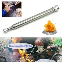 outdoor cooking survival blow fire tube fire starter tube retractable stainless steel camping blow fire tube utensil