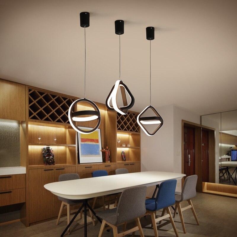 Скандинавский прикроватный светодиодный подвесной светильник, круглые кольцевые черные лампы, ресторанные приборы над столом, домашний де...