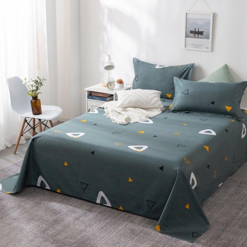 2020 New 3 Pcs bed set 1 pcs 100% Cotton Flat Sheet +2 pcs pillowcase Single Double Bedsheets Queen King Full Twin Bedclothes